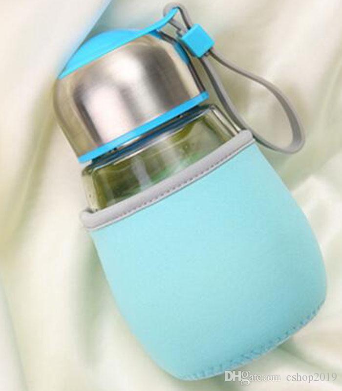 botella de agua de cristal 400ML pingüino taza de cristal de la forma popular Con Té Infuser Bolsa regalo Estudiantes Copa Deportes Botellas Bootle taza del viaje