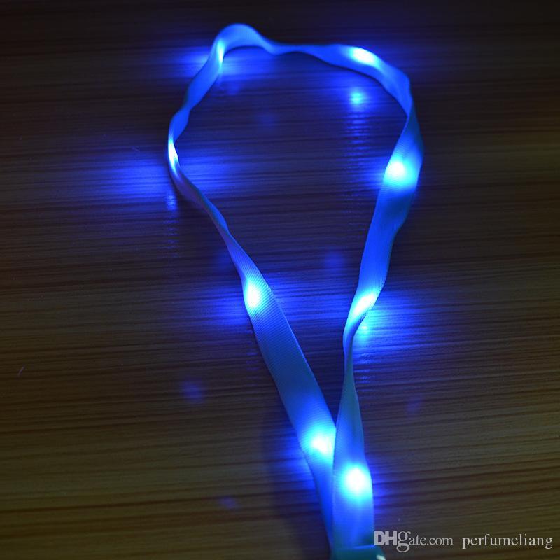 LED Leuchten Halsband Band Lanyard Schlüsselanhänger ID Abzeichen Hängende Spitze Seil Handy Strapes Party Dekoration ZA3493
