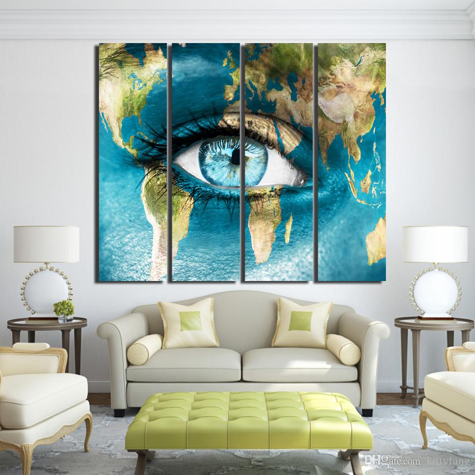 canvas continent world map woman face posters and prints wall art canvas prints artwork decor /up-1330D
