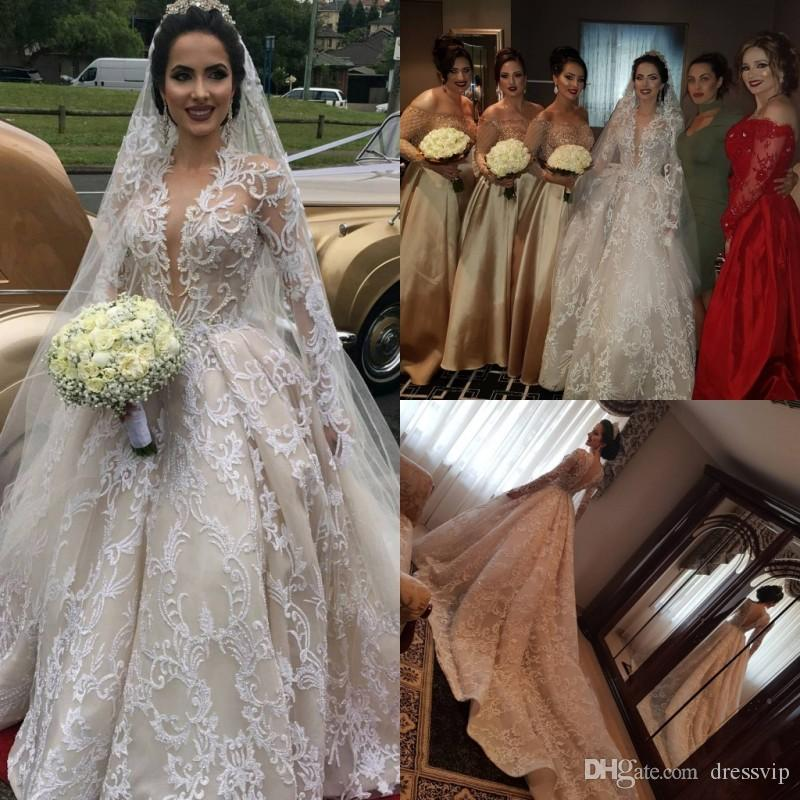 210f92b00556c Long Sleeves Deep V Neck Lace Ball Gown Wedding Dresses With Free Veils  Applique Beads Beach Wedding Dress Sweep Train Cheap Bridal Gowns Victorian  Wedding ...