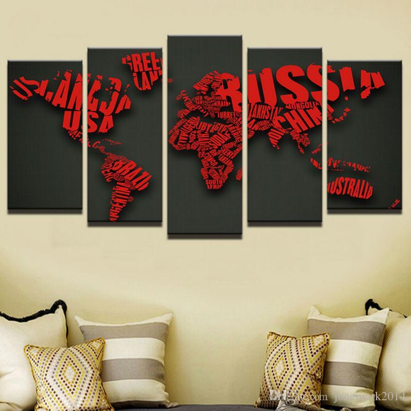5 Stücke Kreative Brief Rote Weltkarten Wandkunst Leinwand Bilder Für Wohnzimmer Schlafzimmer Wohnkultur Gedruckt Leinwand Gemälde