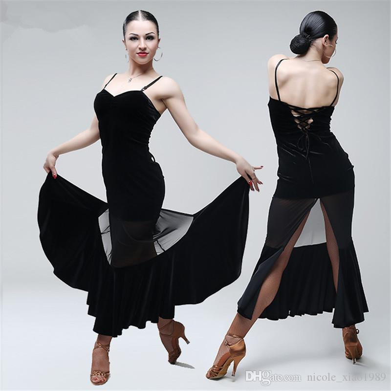4e2045209b7 2019 Sexy Black Velvet Dress Women Sling Latin Dance Costumes On The Sasa  Ballroom Rumba Samba Competition. The Group Take The Clothes 007 From ...