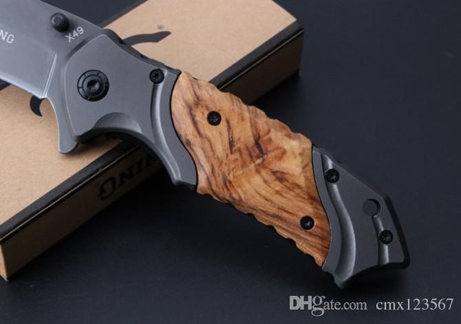 Ücretsiz kargo Browning - x49 hızlı açılış katlama bıçak kolu malzemesi: çelik saplı + kırmızı gölge ahşap açık kamp survival bıçak