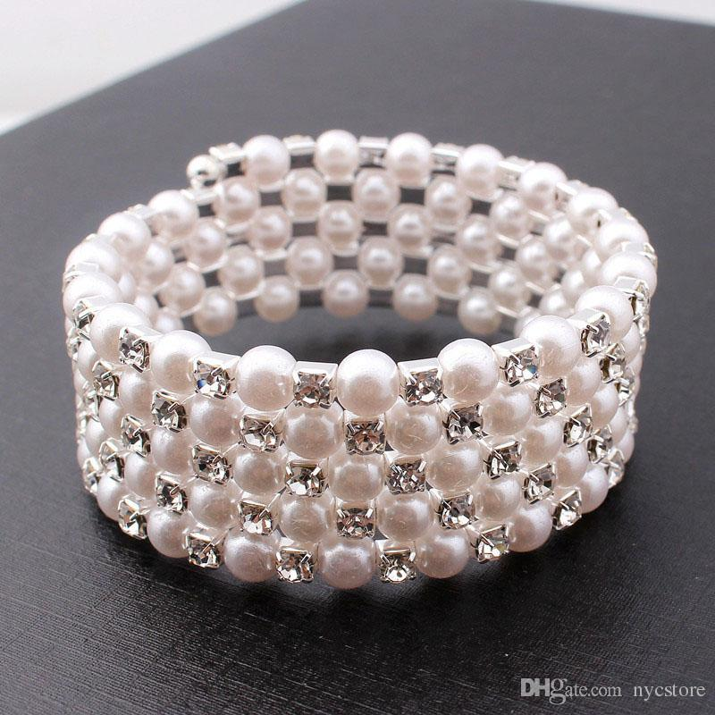 Clearbridal White Pearls Stretchy Vintage Prom Wedding Party Evening Bracelets Bridal Jewelry Accessories