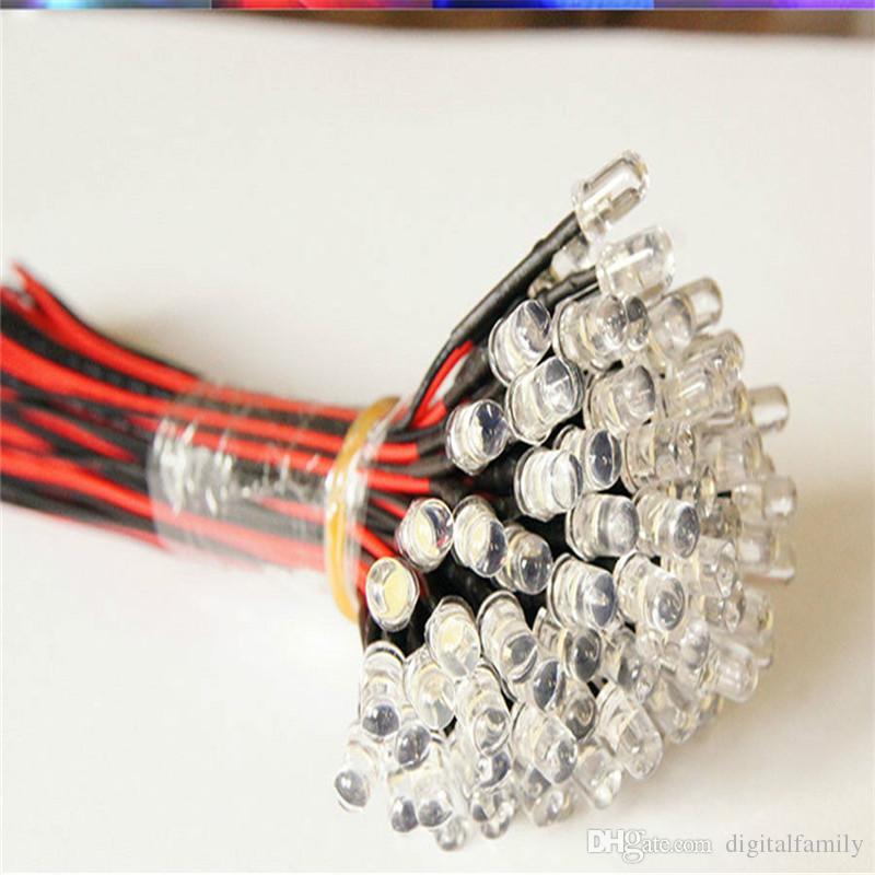 9V ~ 12V LED 3mm pré-câblé pré-câblé ultra-lumineux couleurs lampe ampoule LED Set ampoule lampe blanche 20cm pré-câblé /