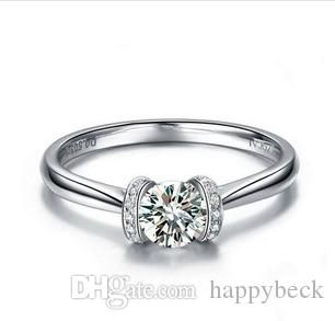Girl Love Best Lucky Style 1CT Synthetic Diamond Female Wedding Ring Solid Sterling Silver Promise Love Best Propose Jewelry