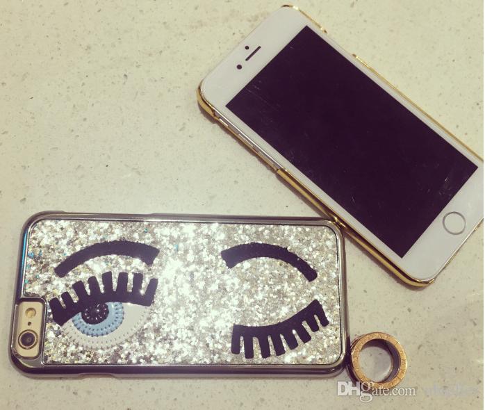 Estuche de lujo con brillo, ojos grandes, pestañas, cajas de teléfono, chapado, metal, contraportada de la PC para iPhone 5 5S 6 6S 6 más 7 Plus