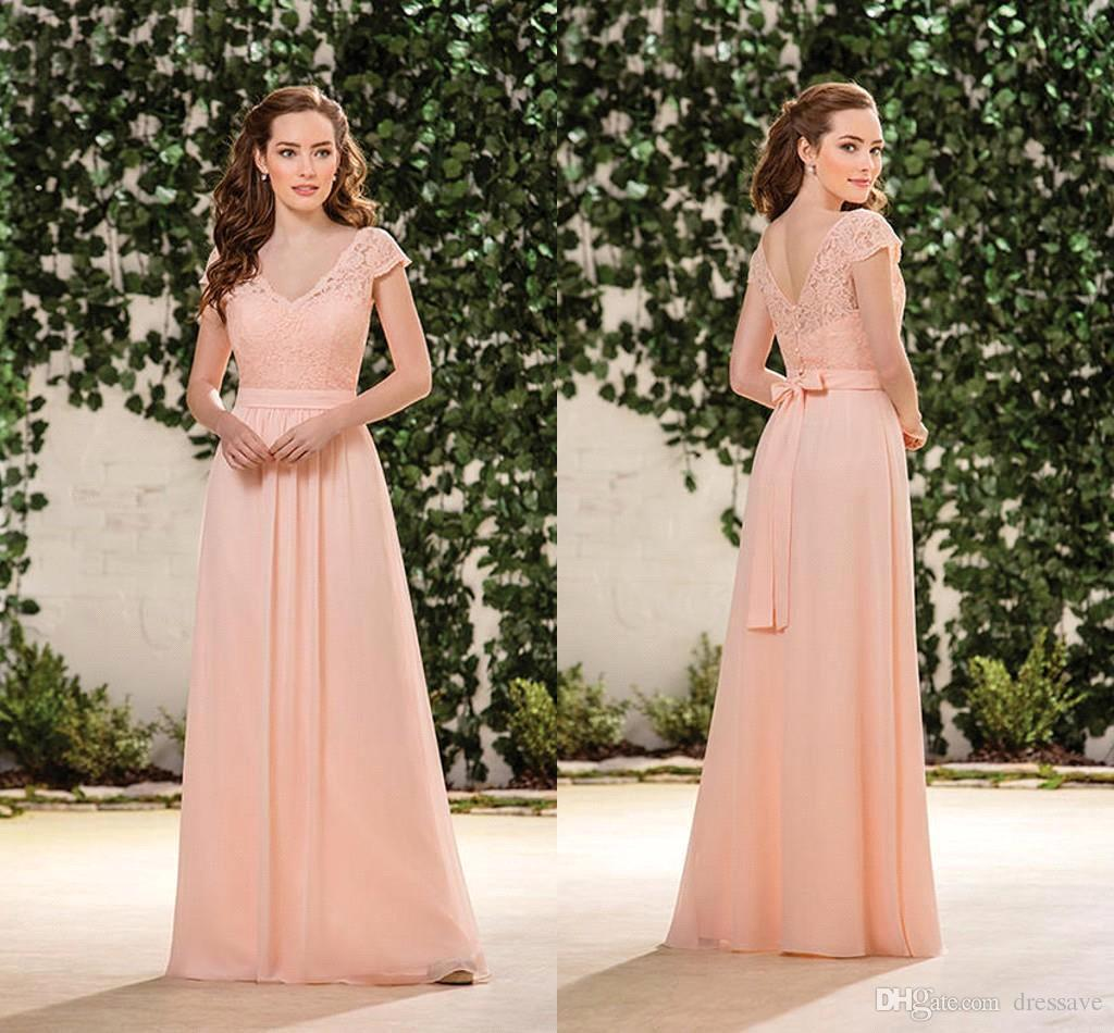 2018 spring cheap long bridesmaid girls dresses v neck a line lace 2018 spring cheap long bridesmaid girls dresses v neck a line lace top chiffon party dresses wedding guest gowns custom made cadbury purple bridesmaid ombrellifo Images