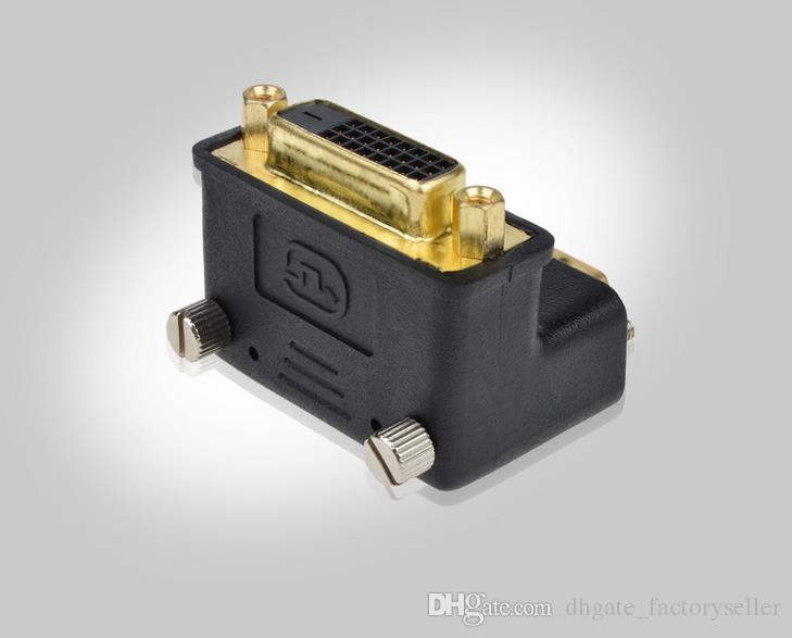 90 Degree Down Angle DVI 24+1 DVI-D Male to Female M/F Adapter Redirection Connector