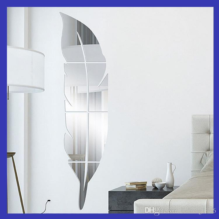Mirror Wall Stickers 3D Mural Painting Acrylic Mirrors Plane Living Room Bedroom Paste Feather Plume Decoration European Style Minute 13rd