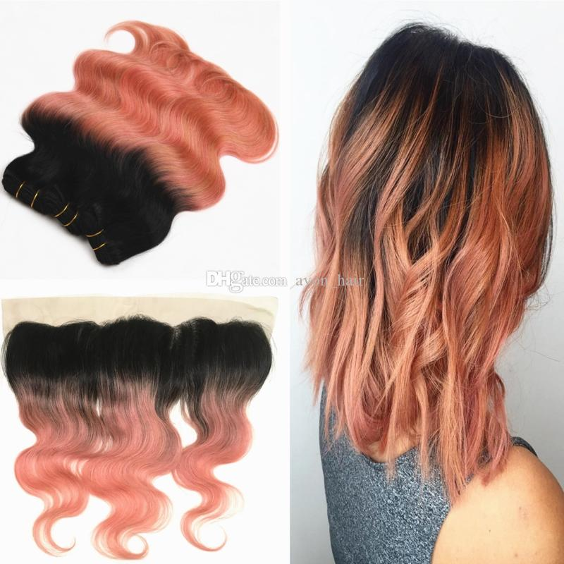 2018 dark root frontal with ombre 1b rose gold hair extension see larger image pmusecretfo Choice Image