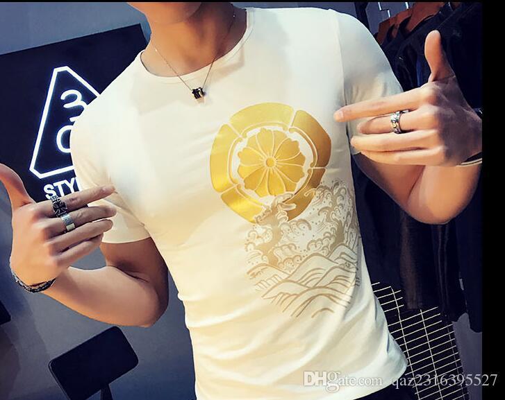 Camiseta de manga corta de verano tatuada patrón dragón dominante camiseta La manga corta de hombres xia cultivar la moralidad de uno