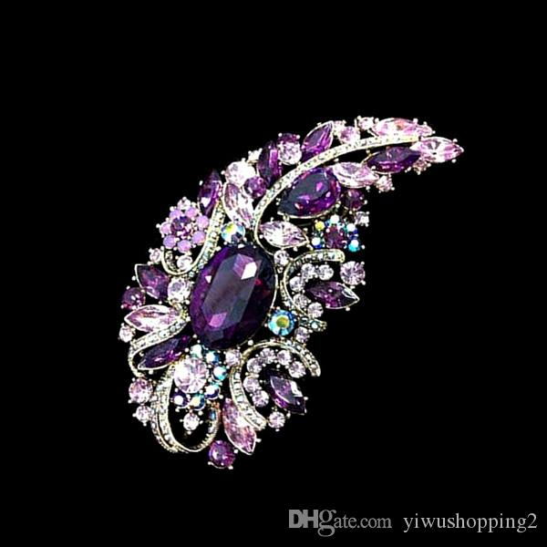 Fashion Jewellery Large Size Muticolor Crystal Rhinestone Flower Brooches and Pins For Wedding Bouquet For Women