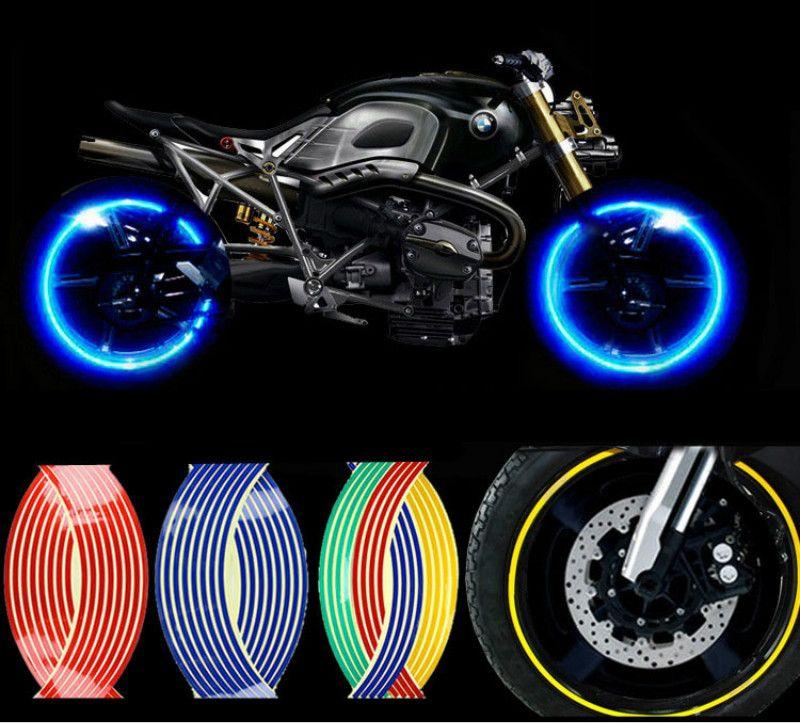 waterproof Motorcycle Styling Wheel Hub Rim Stripe Reflective Decal Stickers Safety Reflector For YAMAHA HONDA SUZUKI