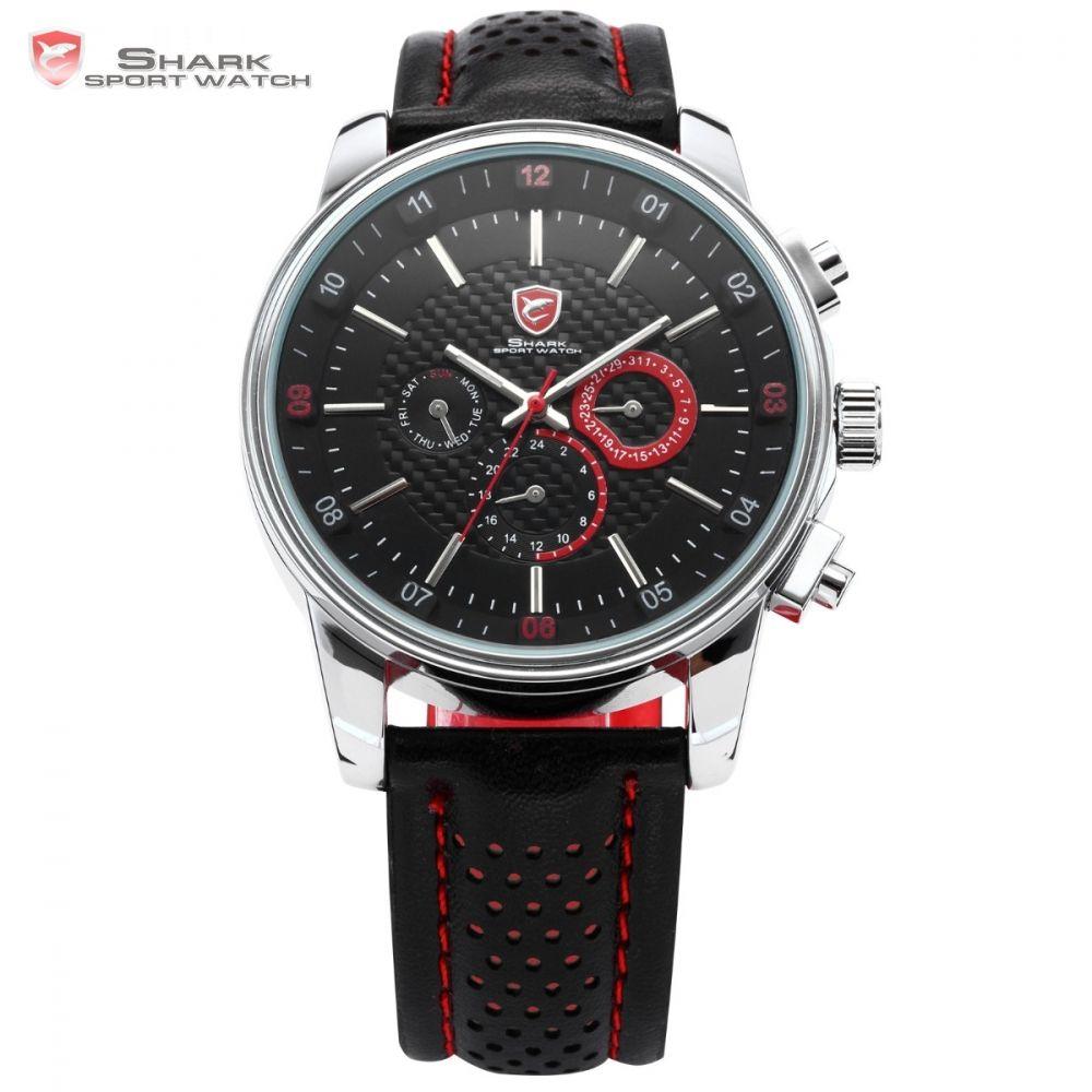 5195fe2425d SHARK Sport Watch 6 Hands Auto Date Day Genuine Leather Strap Black Red  Wrist Quartz Relogio Masculino Men Original Box   SH094 Buying Watches  Online Buy A ...