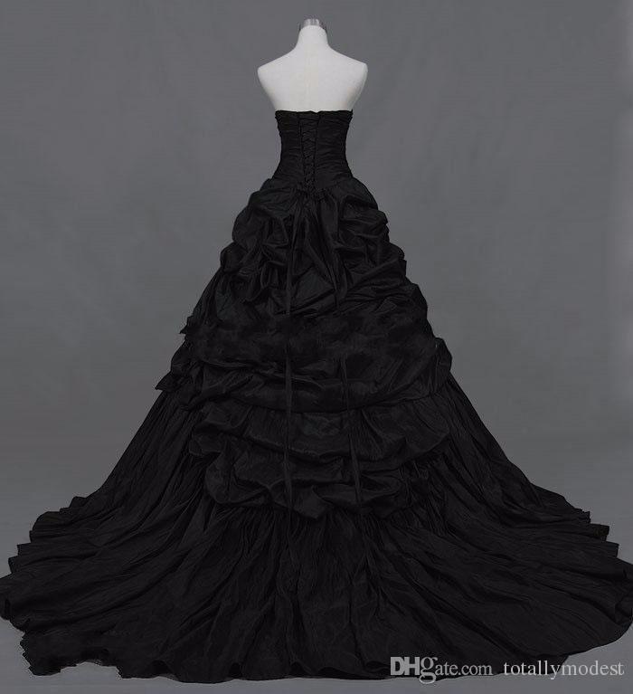 Vintage Gothic Victorian Nero Abiti da sposa Sweetheart Corsetto Back Pick-up Taffetà Abiti da sposa non bianchi Abiti da sposa vintage