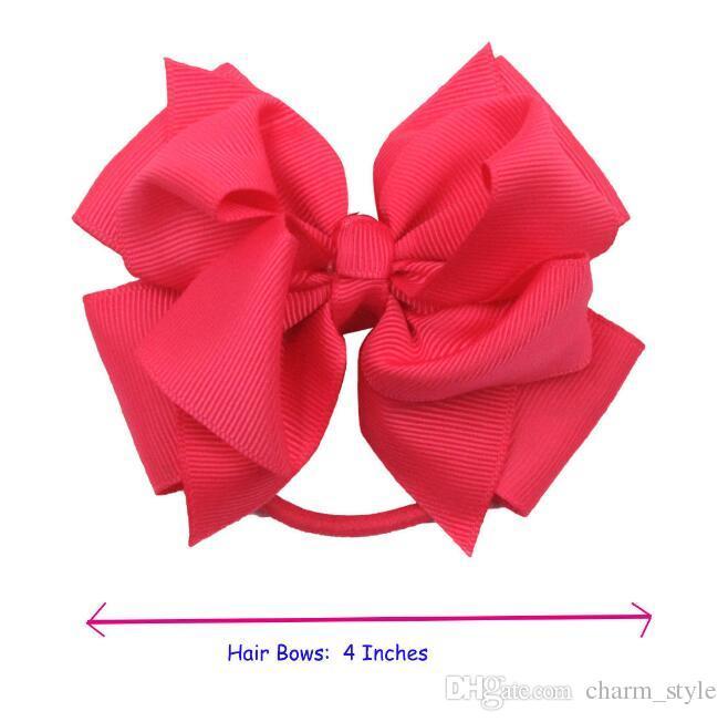 NEW 4 inch Baby Girl Hair Bows Kids Children Grosgrain Ribbon Elastic Headband girls ponytail holder hair bow ties twisted bow /