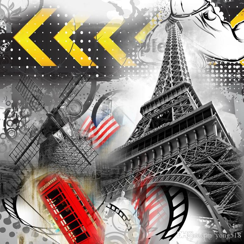 Time-Limited Promotion City Impression Art Modular Picture Eiffel Tower The Sitting Room Modern Painting Decoration