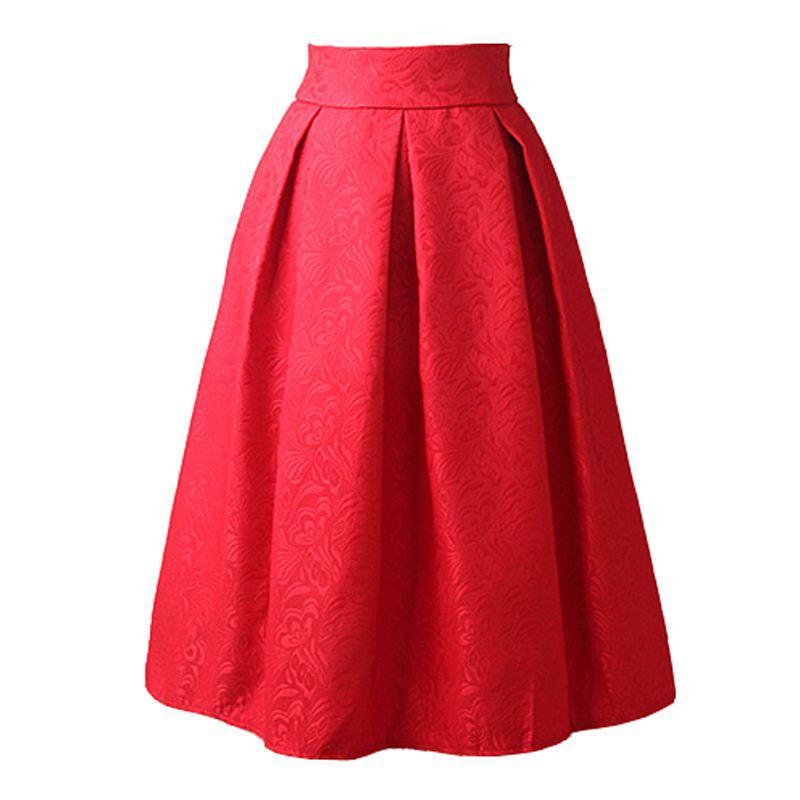 a283ae14d Faldas 2016 Falda de la vendimia del estilo del verano Falda de trabajo de  cintura alta Faldas Midi Moda para mujer rojo azul negro Jupe Femme Saias
