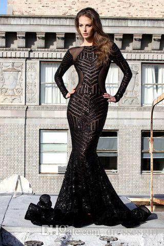 Hot Luxury Black Mermaid Lange Abendkleider Perlen Bateau Neck Langarm Sweep Zug Sexy Open Back Prom Kleider Kleider