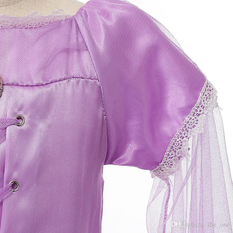 Exclusive dress Children role play Tangled dresses purple Rapunzel costume Halloween party Cosplay dress baby girls