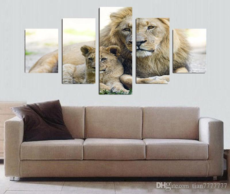 5 Panel HD Printed Animal Old Lion and Little Lion Painting Canvas Print Room decor printed poster Picture Unframed