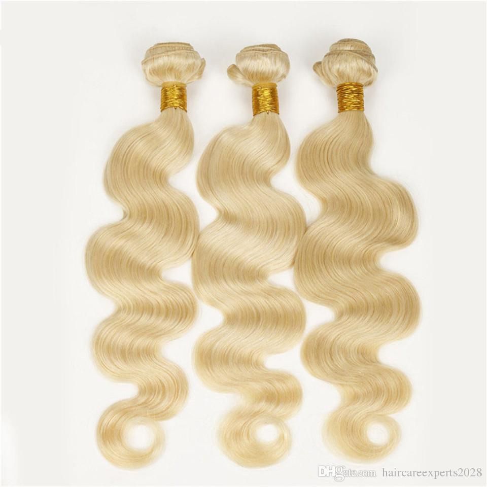 ELIBESS Body Wave 613 Color Human Hair Weaves 50g/piece 3 pieces /lot Blonde Human Hair Weft 3 bundles