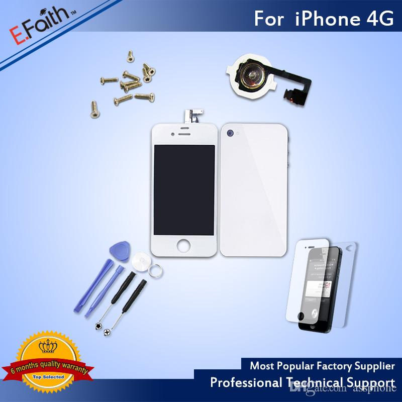 For White iPhone 4G Full Complete LCD Screen Front Display Digitizer Glass Screen Assembly With Accessories & Free ship