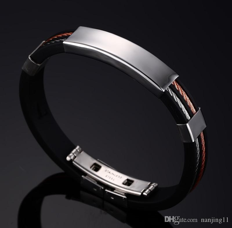 Black Rubber Bracelets & Bangles For Men Stainless Steel+Silicone Wristband Bangles For Male Jewelry BS-034