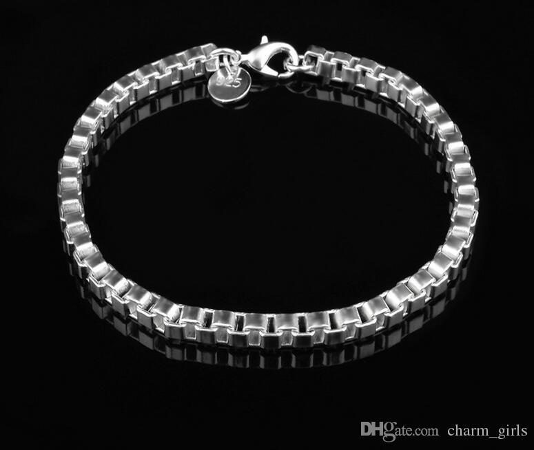 2017 En çok satan erkek Klasik kutu bilezik 925 gümüş bilezik gümüş takı 19 CM * 4 MM 20 adet / grup Ücretsiz Kargo