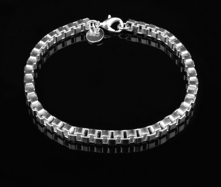 Pulsera de plata de la pulsera de plata de la pulsera de plata 925 de la pulsera de plata de la pulsera de la caja 925 de los hombres superventas 2017 el 19CM * 4MM / liberan el envío