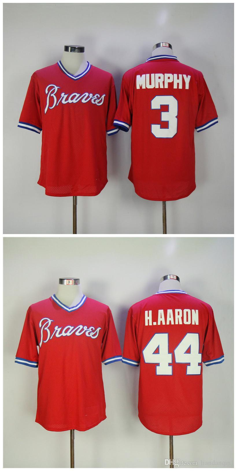 3ecb8f776 ... 2017 1980 retro mens atlanta braves 3 dale murphy 44 hank aaron 5  freeman jersey red
