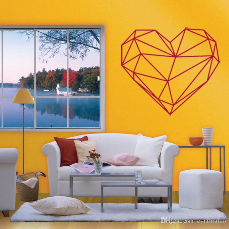 Pvc Geometric Heart Wall Stickers Removable Art Wall Decals Home