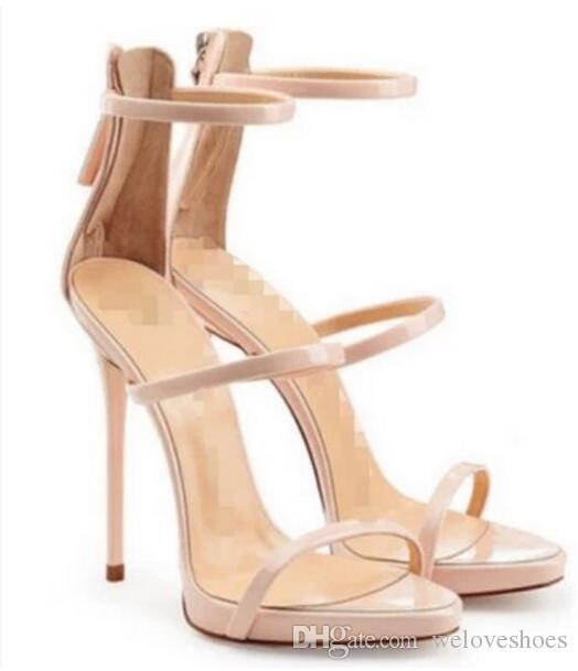 2017 femmes d'été sandales chaussures de mariage chaussures de célébrité orteil ouvert sexy coupe sandales de gladiateur danse talons hauts cheville sangle chaussures de fête