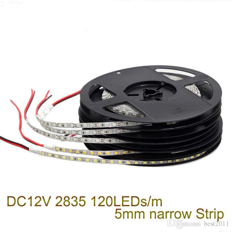 5MM Ancho 12V 120LED / M 5m / Lote 2835 Tira de luz LED No impermeable Bajo consumo Alta luminosidad Blanco Blanco cálido Tira de Led