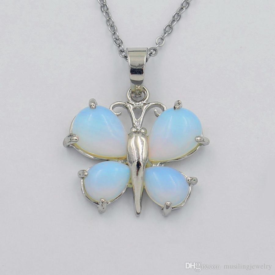 Gotas de Gota de água Borboleta Pingentes Pendulum Gema Natural Pedra Jóias Para As Mulheres Banhado A Prata Chakra Amuleto Moda Jóias