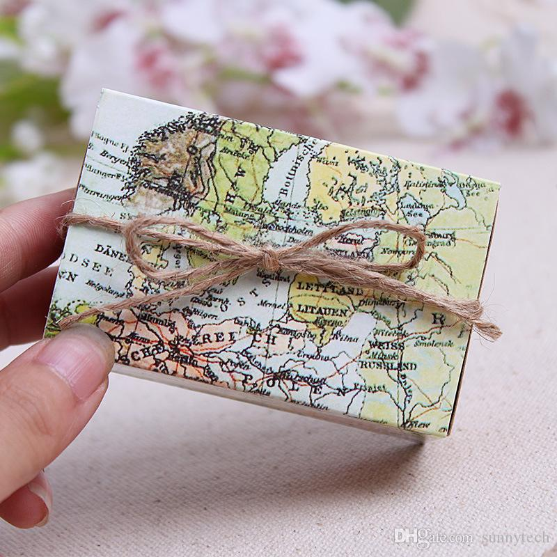 Around The World Map Traveling Theme Wedding Decoration Gift Box