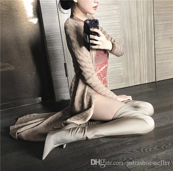 Sexy Spring Fashion Runway Stretchy Sock Boots Pointy Toe Stiletto Heel Thigh High Boots Kylie Jenner Shoes Woman Crotch Booties new style