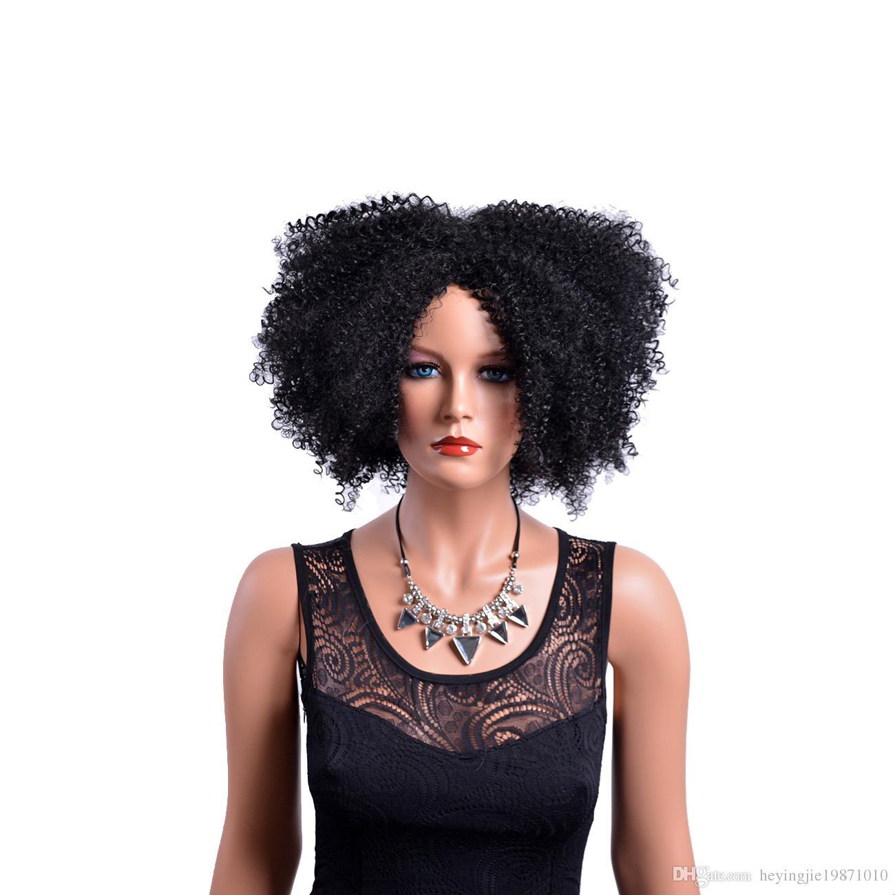 Naturalne syntetyczne kręcone peruki dla czarnych kobiet african american medium naturalne pełne afro czarne peruki odporne na ciepło