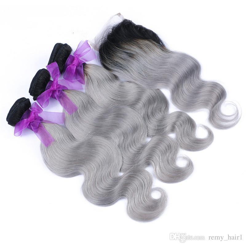 Malezya Ombre 4x4 Dantel Kapatma Ile 3 Demetleri # 1B / Gri İki Ton Renkli Insan Saçı Kapatma Vücut Dalga Gümüş Gri Ombre Örgüleri