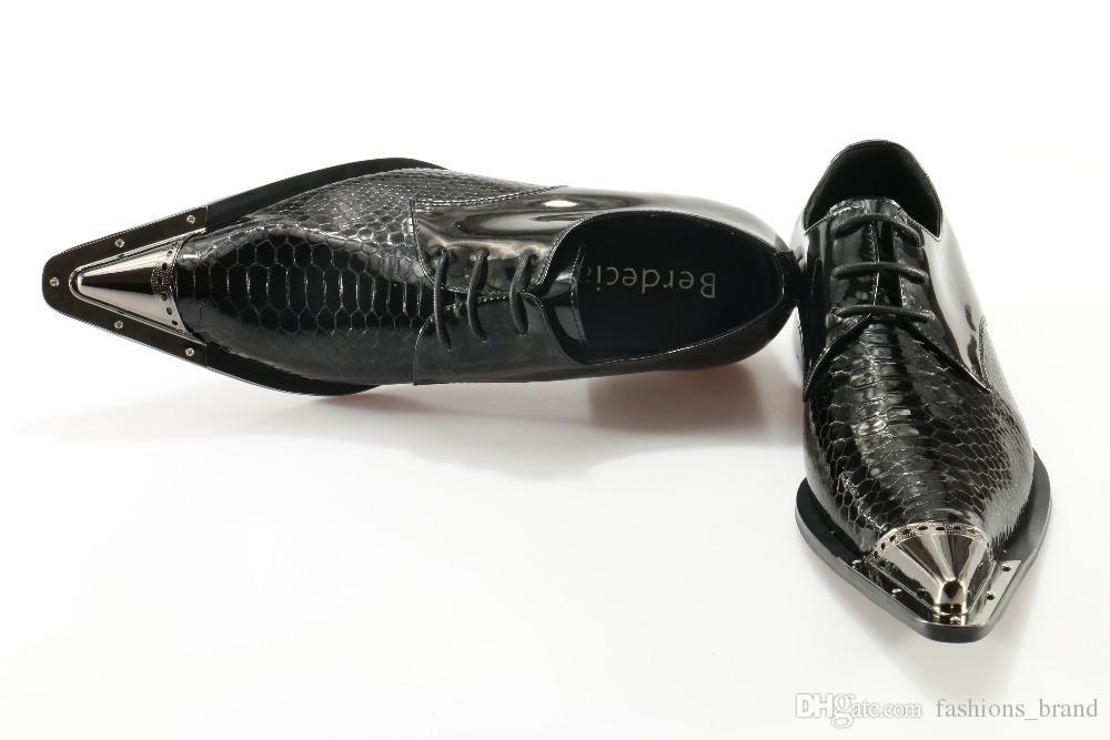 2017 uomini scarpe stringate in pelle scarpe da uomo 3.5 centimetri tallone punta a punta rivetto uomo scarpe derby stile inglese modello coccodrillo scarpe maschili Bussines