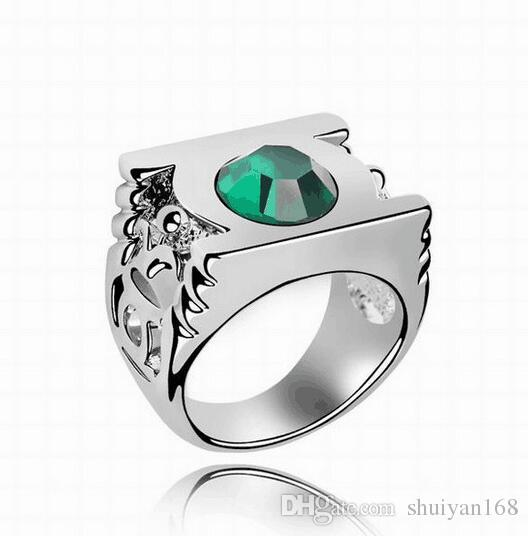 Fashion Mens Rings Gemstone Exaggerated Green Lantern Rings Austrian Crystal Wedding Rings for Women Branded Design Jewelry DHL
