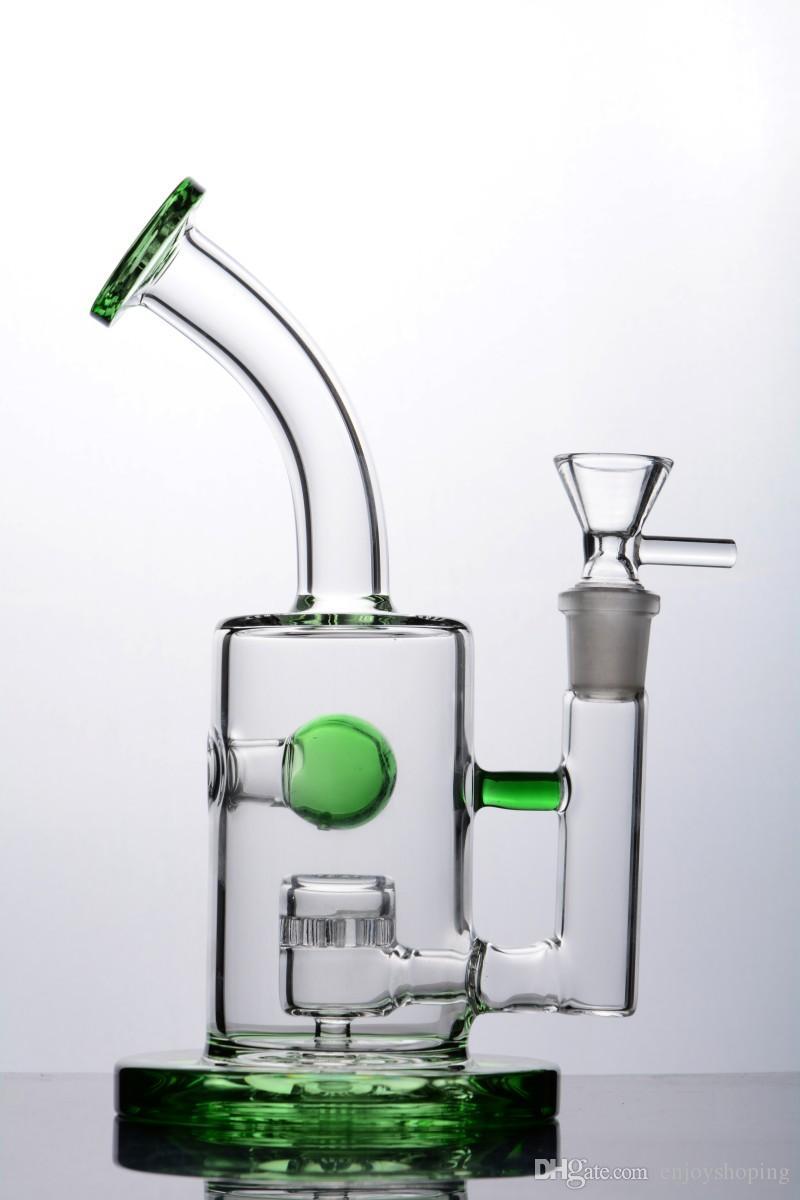Unique Glass Water Bong Jet Perc Bong Green Glass Bongs with Bent Neck Piece Small Breaker Bubbler Bongs