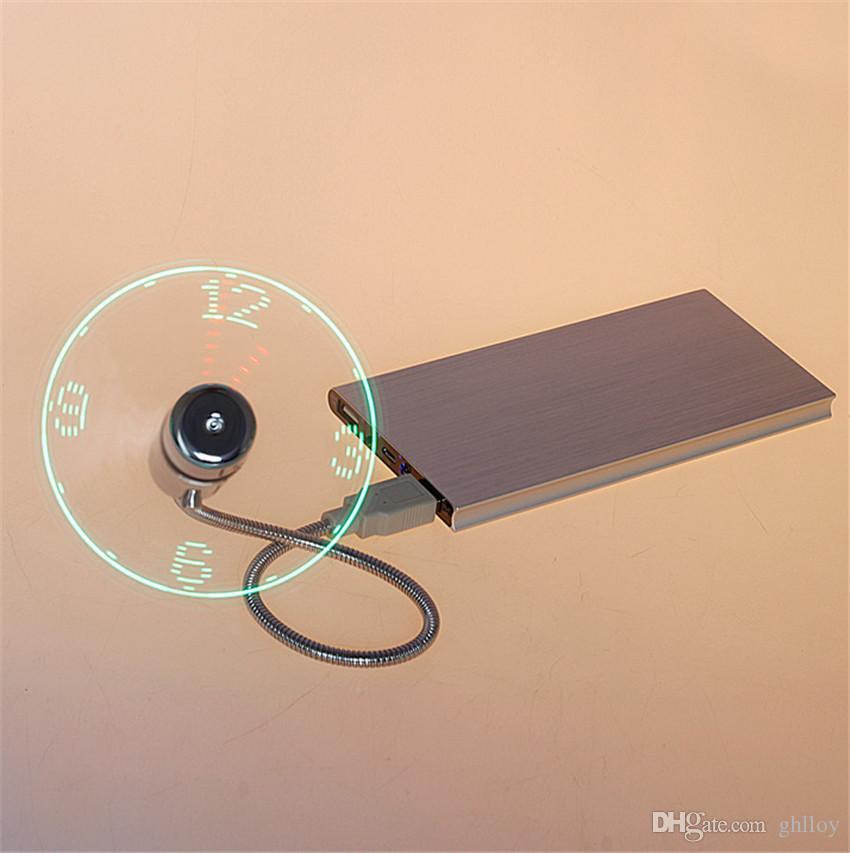 Mini USB LED Fan Horloge Affichage Temps clignotant USB Horloge Fan Pour PC Notebook Power Bank Chargeur Avec Ith Horloge USB Gadgets