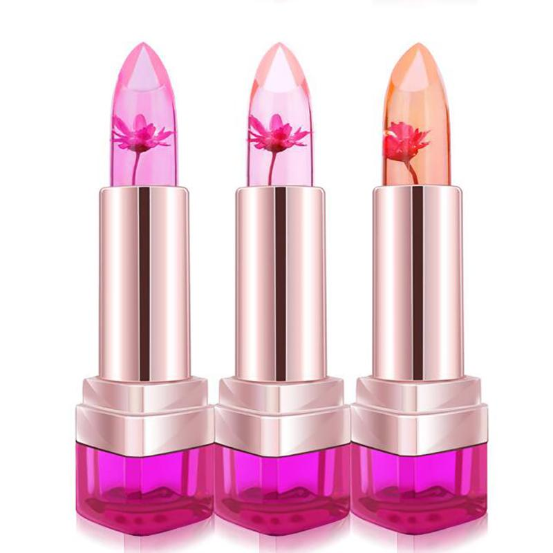 Hot Temperature Change Color Lip Balm Waterproof Long-lasting Sweet Transparent Jelly Flower Pink Moisturizer Lipstick
