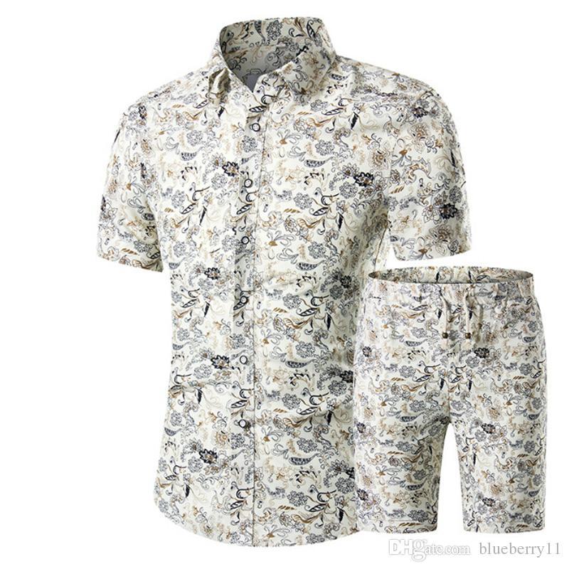 Männer Hemden + Shorts Set Neue Sommer Lässig gedrucktes Hawaiianisches Hemd Homme Kurze Männliche Druckkleid Anzugssätze Plus Größe