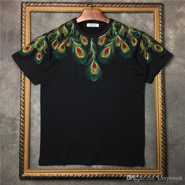 2017 été Date Marque t-shirt Homme marcelo burlon Ailes de paon brodées T-shirt homme En coton à manches courtes rondes Tee Tops Homme T-shirt