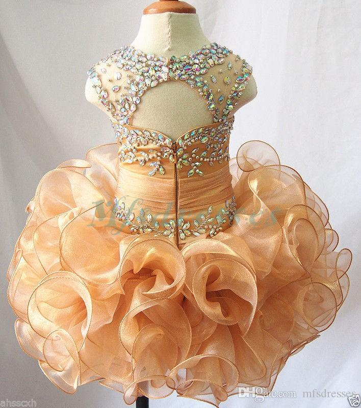 New Stunning Gold Short Bead Flower Girls Dress Birthday Cupcake Dress for Toddler Hollow Back Ball Gown Mini Beading Girls Pageant Gown