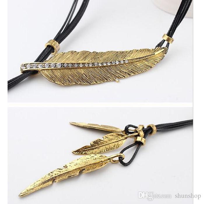 Hot sale Women Bohemian Style Necklace Black Rope Chain Feather Pattern Pendant Necklace Stylish Jewelry Gift free ship