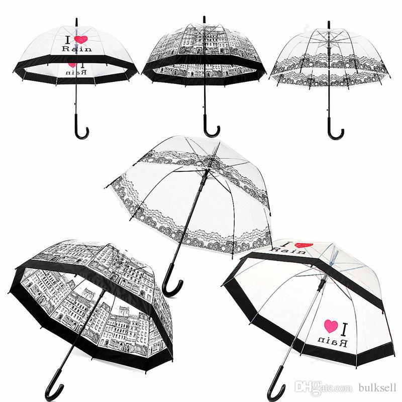 4cdd0792a 2019 Transparent Umbrella Long Handle Semi Automatic Sunny Rainy Umbrella  Women Girls Outdoor Tools City Town Scenery Apollo Umbrella From Bulksell,  ...